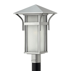 LED Post Light with White Glass in Titanium Finish