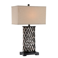 Lite Source Lighting Sadler Aged Silver Table Lamp with Rectangle Shade