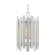 Picket White Mini-Pendant Light with Cylindrical Shade by Kenroy Home