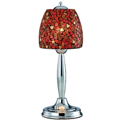 Table Lamp with Red Glass in Polished Steel Finish