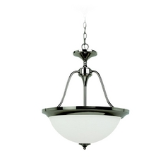 Sea Gull Lighting Modern Pendant Light with White Glass in Polished Nickel Finish 65972BLE-841