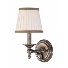 Sconce Wall Light with White Shade in Aged Brass Finish
