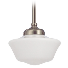 10-Inch Satin Nickel Period Lighting Schoolhouse Mini-Pendant Light