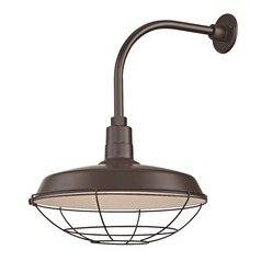 Bronze Outdoor Barn Wall Light with Gooseneck Arm and 18