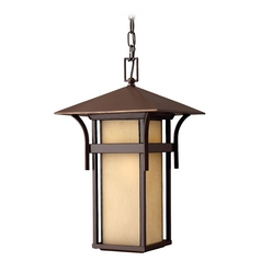 Outdoor Hanging Light with Amber Glass in Anchor Bronze Finish