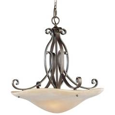 Feiss Lighting Pendant Light with Beige / Cream Glass in Corinthian Bronze Finish F1835/3CB