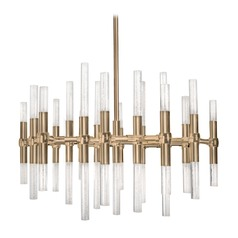 Modern Vintage Brass LED Chandelier with Clear Shade 3000K 2664LM