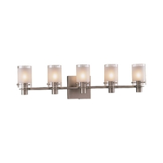 Modern Bathroom Light with White Glass in Antique Nickel Finish