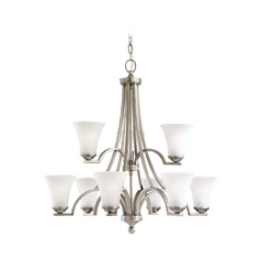 Sea Gull Lighting 9-Light Chandelier with White Glass in Antique Brushed Nickel