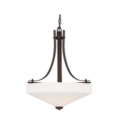 Modern Pendant Light with White Glass in Artistic Bronze Finish