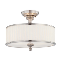 Modern Semi-Flushmount Light with White Shades in Brushed Nickel Fini