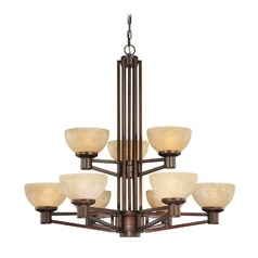 Bronze Chandelier with Nine Lights