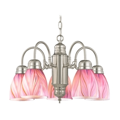 Mini-Chandelier with Pink Art Glass in Satin Nickel Finish
