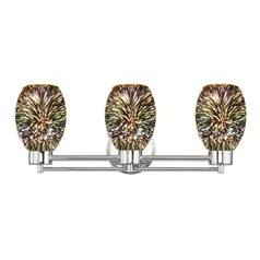 Chrome Bathroom Light and 3-D Glass with Burst Pattern