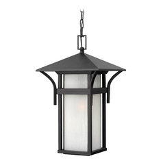 Outdoor Hanging Light with White Glass in Satin Black Finish