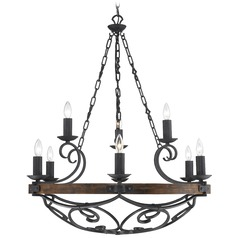 Golden Lighting Madera 9-Light Chandelier in Black Iron Finish