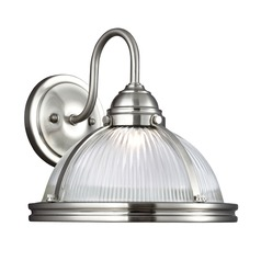 Farmhouse Prismatic Glass LED Sconce Brushed Nickel Pratt Street Sconces by Sea Gull Lighting