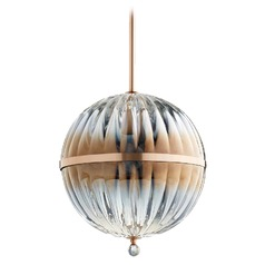 Quorum Lighting Brushed Copper Pendant Light with Globe Shade