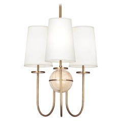 Robert Abbey Fineas Travertine / Antique Brass Chandelier
