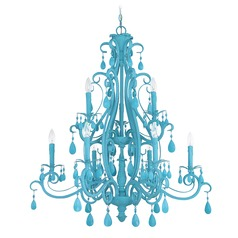 Craftmade 9-Light Chandelier in Turquoise Finish