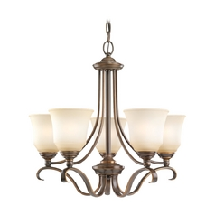 Chandelier with Beige / Cream Glass in Russet Bronze Finish