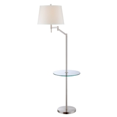 Modern Gallery Tray Lamp with White Shade in Polished Steel Finish