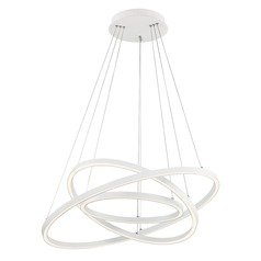 Modern 32-Inch Triple Ring LED Pendant Light White Finish