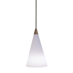 Murano Cone Glass Mini-Pendant Light in Antique Bronze