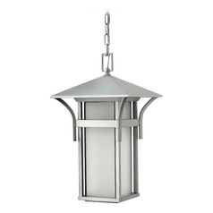 Outdoor Hanging Light with White Glass in Titanium Finish