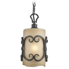 Golden Lighting Madera Black Iron Mini-Pendant Light with Cylindrical Shade