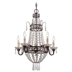 Deep Lathan Bronze Crystal Chandelier
