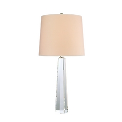 Modern Table Lamp with White Shade in Polished Nickel Finish