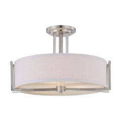 Modern Semi-Flushmount Light with Grey Shade in Brushed Nickel Finish