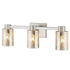 3-Light Mercury Glass Bathroom Light Satin Nickel