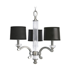 Progress Crystal Chandelier with Black Shades in Classic Silver Finish