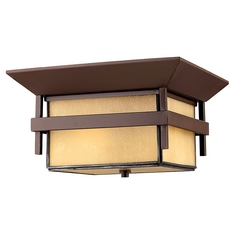 Close To Ceiling Light with Amber Glass in Anchor Bronze Finish