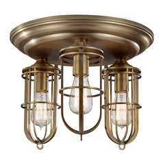 Flushmount Light in Dark Antique Brass Finish