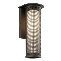 Modern Outdoor Wall Light with White Glass in Bronze Finish