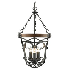 Golden Lighting Madera Black Iron Pendant Light