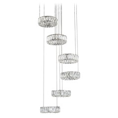 Crystal Chrome LED Chandelier with Clear Shade 4000K 4100LM