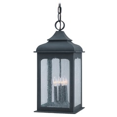 Troy Lighting Outdoor Hanging Light with Clear Glass in Colonial Iron Finish F2018CI