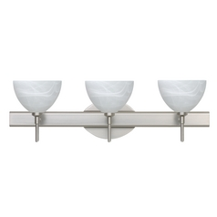 Modern Bathroom Light Marbled Glass Satin Nickel by Besa Lighting
