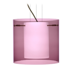 Modern Pendant Light Purple Glass Bronze by Besa Lighting