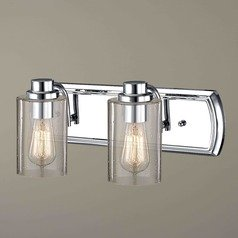 Industrial Seeded Glass Bathroom Light Chrome 2 Lt