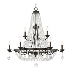 Quoizel Lighting Livery Western Bronze Crystal Chandelier