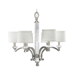 Progress Crystal Chandelier with White Shades in Classic Silver Finish