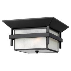 Close To Ceiling Light with White Glass in Satin Black Finish