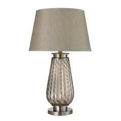 Dimond Lighting Smoked Glass, Brushed Steel Table Lamp with Empire Shade