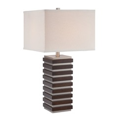 Lite Source Lighting Dante Polished Steel, Dark Walnut Table Lamp with Square Shade