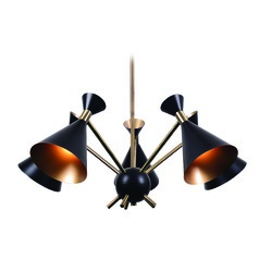 Mid-Century Modern Chandelier Black Arne by Kenroy Home